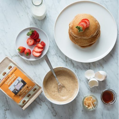 Healthy pancakes as part of a balanced breakfast