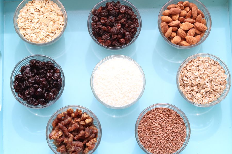 ingredients for oatmeal and muesli