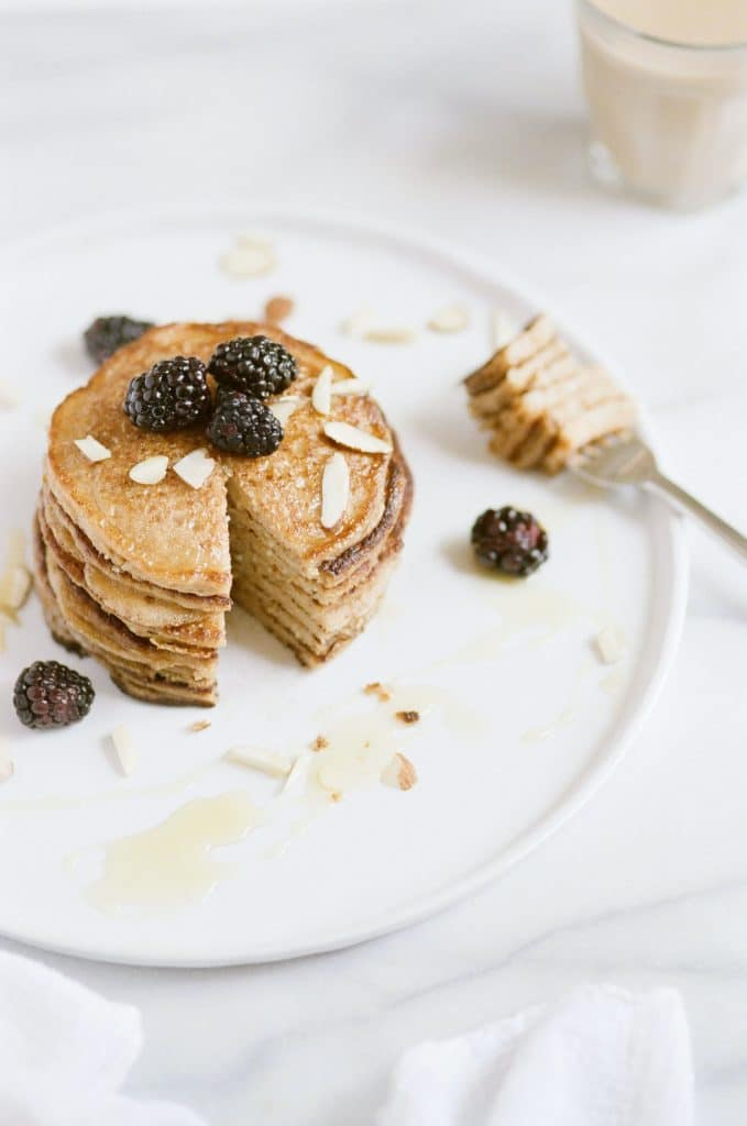 plate of a stack of vegan protein pancakes